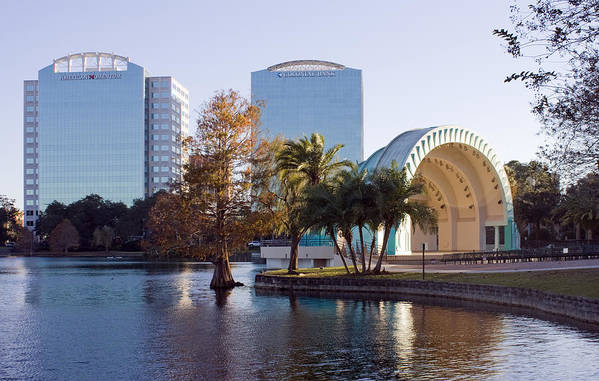 Bandshell Poster featuring the photograph Lake Eola's Classical Revival Amphitheater by Lynn Palmer