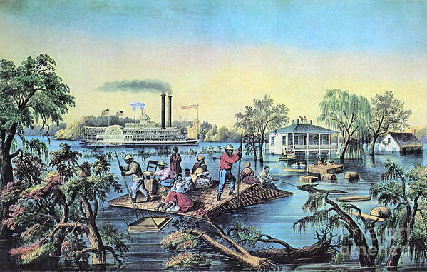 History Poster featuring the photograph Life On The Mississippi, 1868 by Photo Researchers