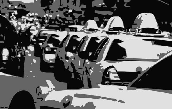 Taxi Poster featuring the photograph Nyc Traffic Bw3 by Scott Kelley