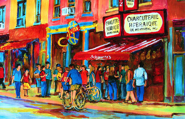 Schwartzs Smoked Meat Deli Poster featuring the painting Biking Past The Deli by Carole Spandau