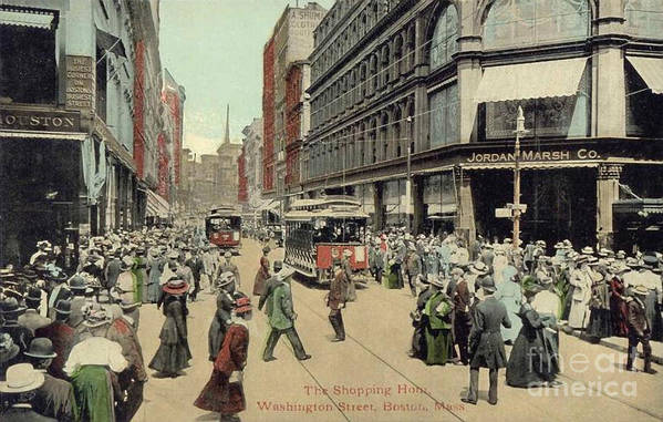 1910 Poster featuring the photograph Boston: Washington Street by Granger
