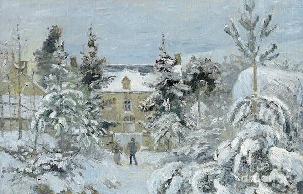 Winter Poster featuring the painting House At Montfoucault by Camille Pissarro