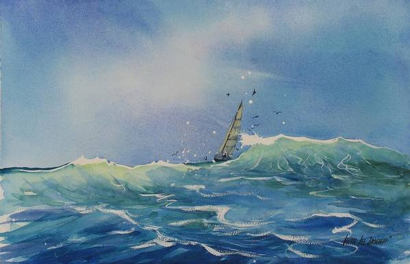 Watercolor Painting Poster featuring the painting Open Waters by Laura Lee Zanghetti