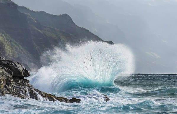 Kee Beach Poster featuring the photograph Turbulent Shore by Jon Glaser
