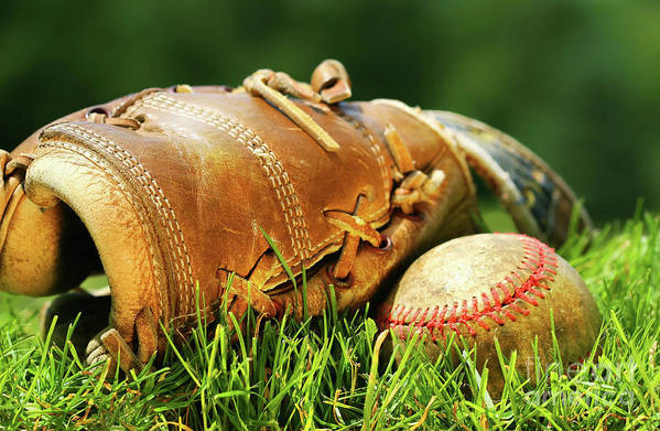 Ball Poster featuring the photograph Old Glove And Baseball by Sandra Cunningham