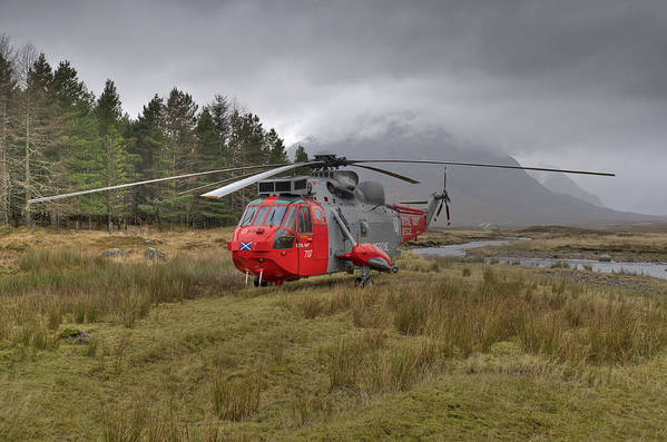 Helicopter Poster featuring the photograph Royal Navy Sar Sea King Xz920 Glencoe by Gary Eason