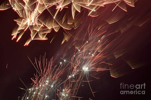 Horizontal Poster featuring the photograph Fireworks On Bastille Day by Sami Sarkis