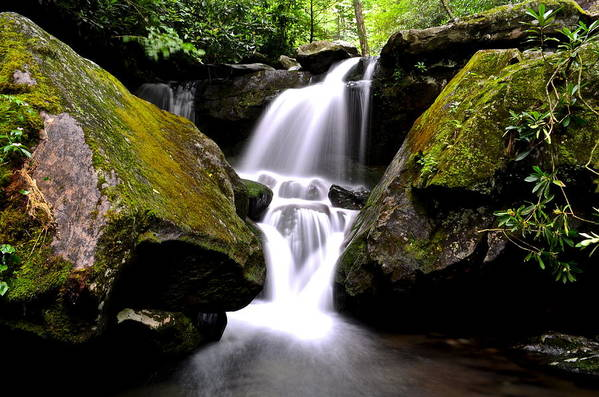 Smoky Mountains Poster featuring the photograph Grotto Falls by Frozen in Time Fine Art Photography