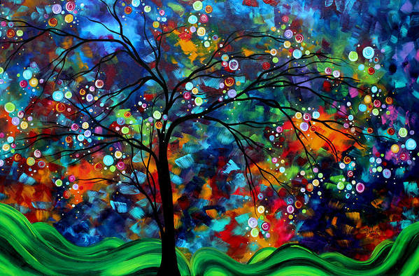 Abstract Poster featuring the painting Abstract Art Original Landscape Painting Bold Colorful Design Shimmer In The Sky By Madart by Megan Duncanson