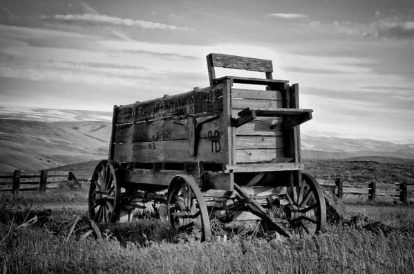 Covered Wagon Poster featuring the photograph Black And White Covered Wagon by Athena Mckinzie