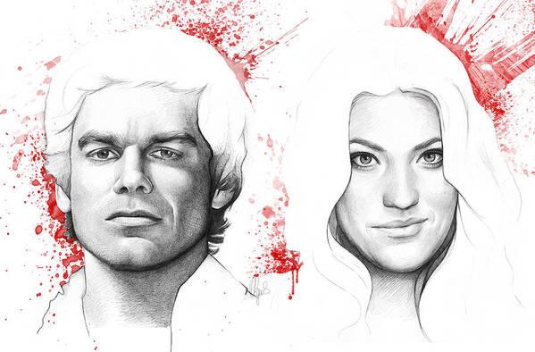 Dexter Poster featuring the drawing Dexter And Debra Morgan by Olga Shvartsur