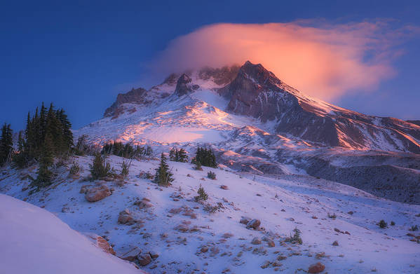Mount Hood Poster featuring the photograph Fire Cap by Darren White