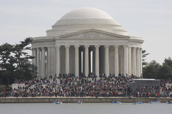 America Poster featuring the photograph Jefferson Memorial - Washington Dc - 01134 by DC Photographer