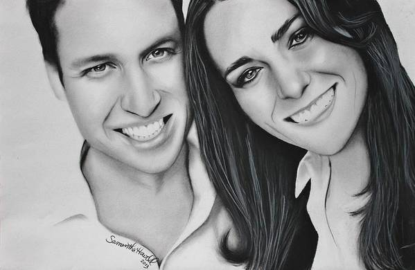 Kate And William Poster featuring the drawing Kate And William by Samantha Howell
