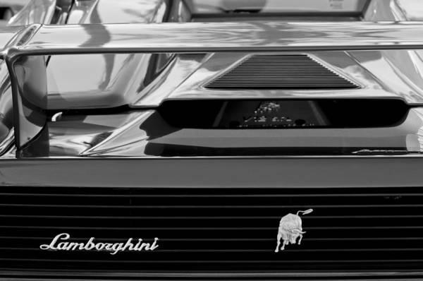 Lamborghini Rear View Emblem Poster featuring the photograph Lamborghini Rear View Emblem by Jill Reger