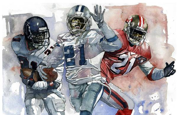 Deion Poster featuring the painting Primetimes by Michael Pattison