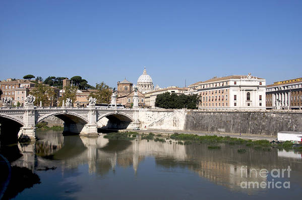 With Poster featuring the photograph River Tiber With The Vatican. Rome by Bernard Jaubert