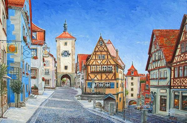 Rothenburg Poster featuring the painting Rothenburg Germany by Mike Rabe