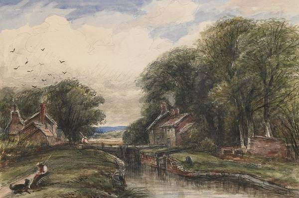 C19th Poster featuring the painting Shardlow Lock With The Lock Keepers Cottage by James Orrock