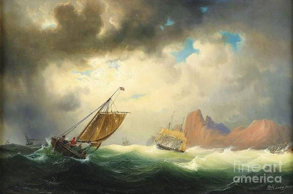 Pd Poster featuring the painting Ships On Stormy Ocean by Pg Reproductions