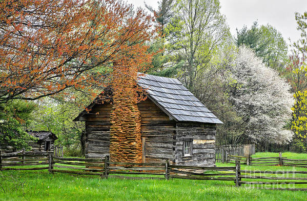 North Carolina Poster featuring the photograph Spring Cabin I - Blue Ridge Parkway by Dan Carmichael