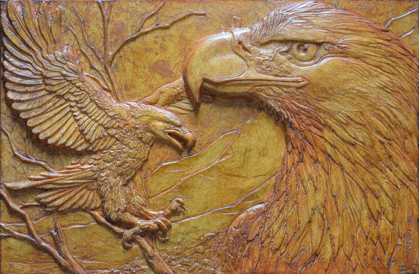 Eagles Poster featuring the sculpture Teton Pair by Jeremiah Welsh