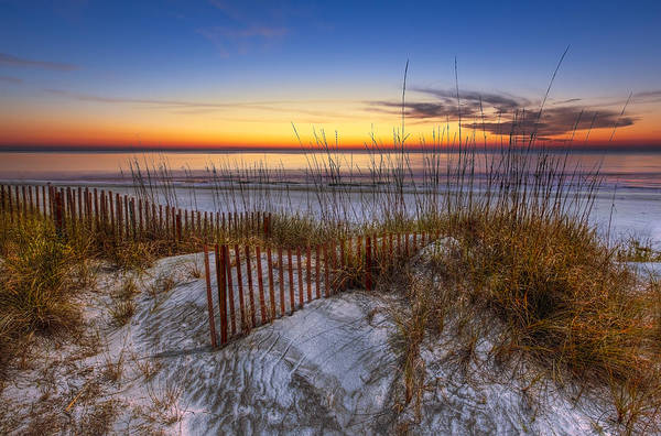 Clouds Poster featuring the photograph The Dunes At Sunset by Debra and Dave Vanderlaan