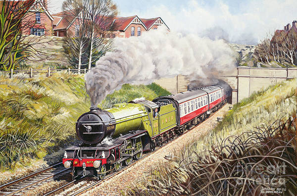 Train Poster featuring the painting The Green Arrow by David Nolan