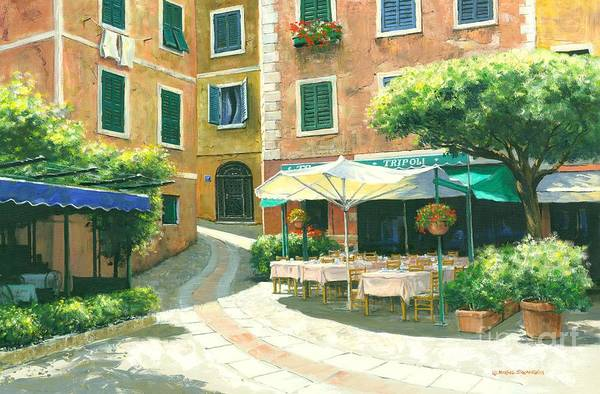 Portofino Cafe Poster featuring the painting The Way Home by Michael Swanson