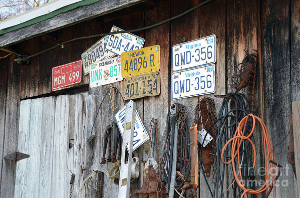 License Plates Poster featuring the photograph Times Gone Bye by Brenda Dorman