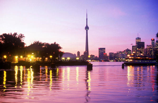 Buildings Poster featuring the photograph Toronto Skyline At Sunset, Toronto by Peter Mintz