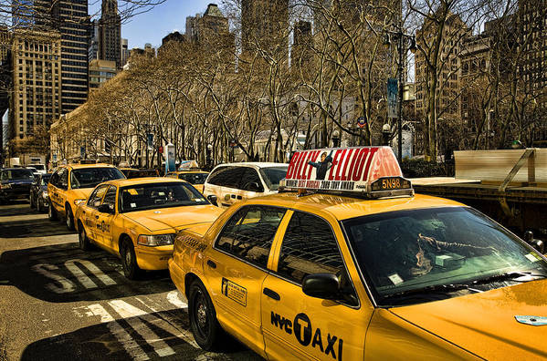 Yellow Cabs Poster featuring the photograph Yellow Cabs by Joanna Madloch