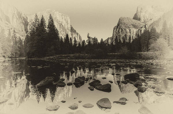 Ansel Adams Inspired Poster featuring the photograph Yosemite National Park Valley View Antique Print  by Scott McGuire