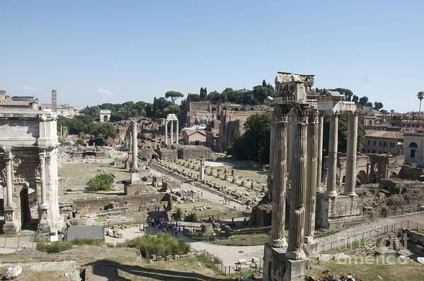 Worth Poster featuring the photograph Temple Of Saturn In The Forum Romanum. Rome by Bernard Jaubert