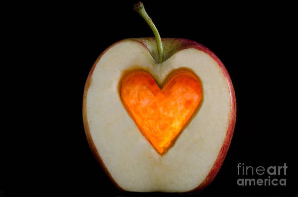 Apple Poster featuring the photograph Apple With A Heart by Mats Silvan