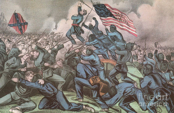 America Poster featuring the photograph Charge Of The 54th Massachusetts by Photo Researchers