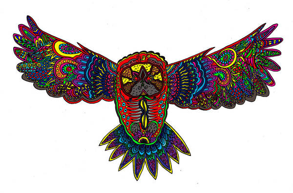 Owl Poster featuring the mixed media Coloured Owl by Karen Elzinga