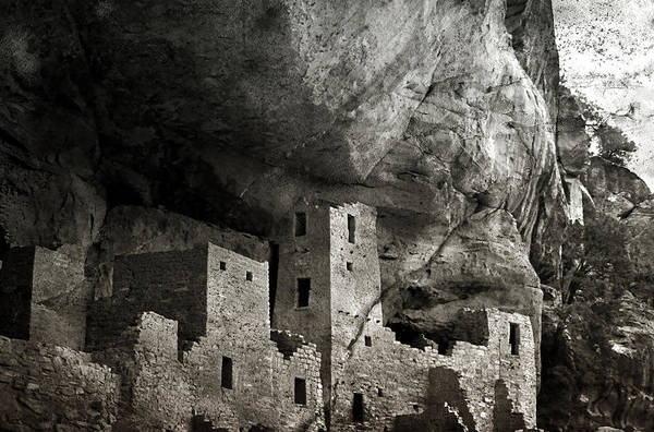 Mesa Verde Poster featuring the photograph Mesa Verde - Monochrome by Ellen Heaverlo