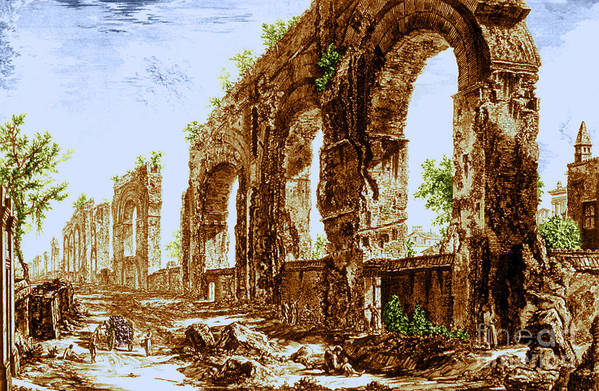 Architecture Poster featuring the photograph Ruins Of Roman Aqueduct, 18th Century by Science Source