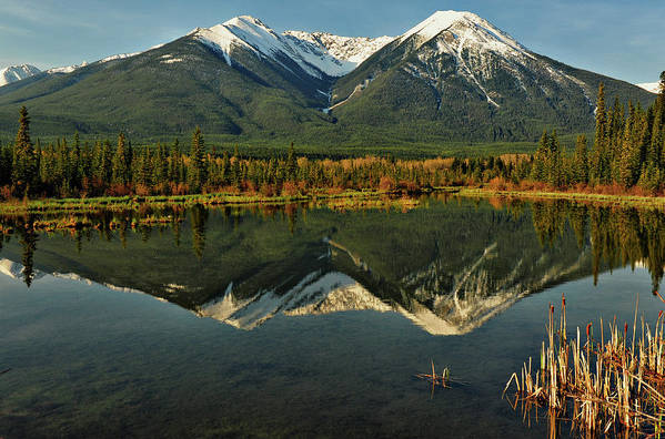 Horizontal Poster featuring the photograph Snow Covered Peaks Of Canadian Rockies by Jeff R Clow