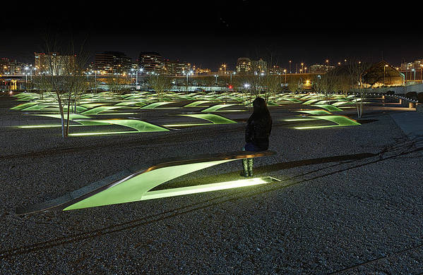 Metro Poster featuring the photograph The Lonely Tourist At Pentagon Memorial by Metro DC Photography