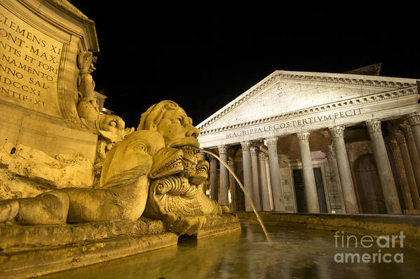Water Poster featuring the photograph The Pantheon At Night. Piazza Della Rotonda.rome by Bernard Jaubert