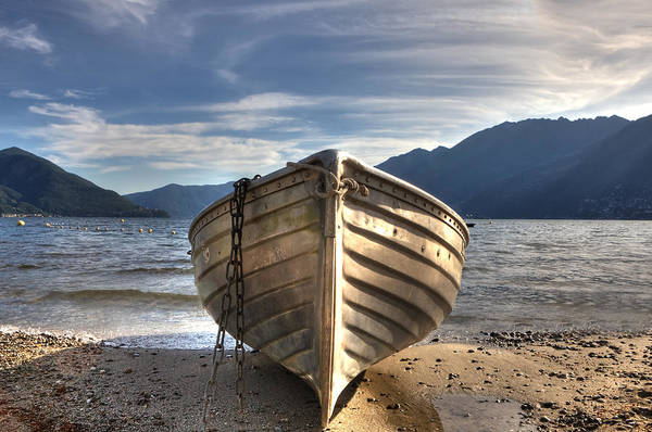 Ticino Poster featuring the photograph Rowing Boat On Lake Maggiore by Joana Kruse