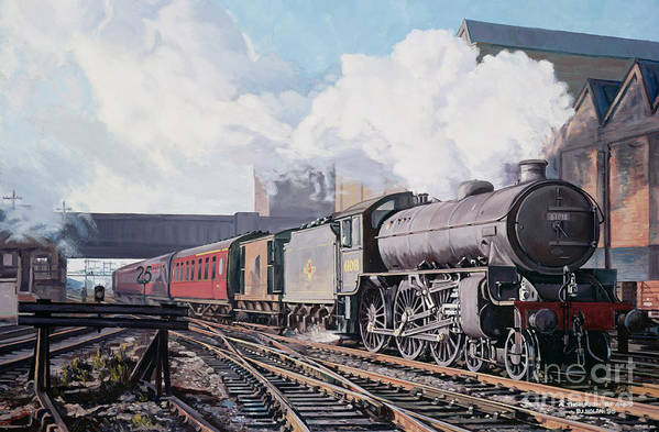 Train Poster featuring the painting A 'thompson' B1 Class Moving Empty Stock On A Cold February Morning by David Nolan