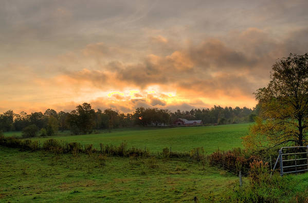 Farms Poster featuring the photograph Autumn Morning by David Bishop