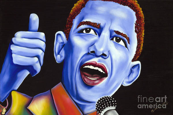 Barack Obama Poster featuring the painting Blue Pop President Barack Obama by Nannette Harris