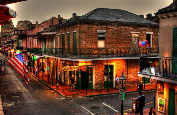 New Orleans Poster featuring the photograph Evening On Bourbon by Greg and Chrystal Mimbs