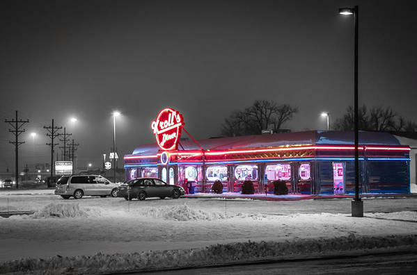 Krolls Diner Poster featuring the photograph Kroll's Diner Mandan by Chad Rowe