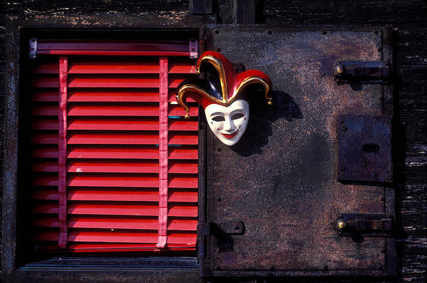 Mask Poster featuring the photograph Mask By Window by Garry Gay