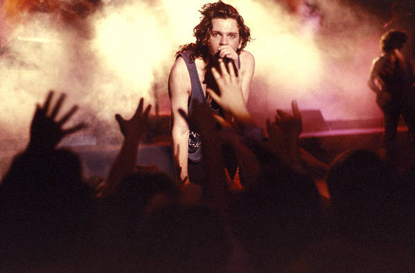Michael Hutchence Poster featuring the photograph Michael Hutchence And Inxs 1985 by Sean Davey